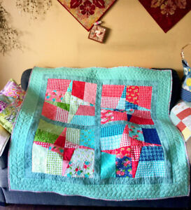"""Sweet Windmill Quilt 51"""" Square Throw Quilt Lap Quilt Baby Quilt"""