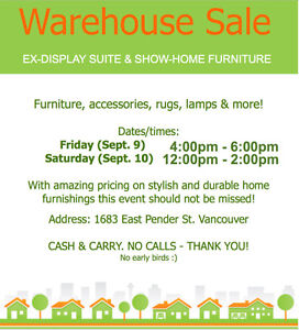 HOME STAGING WAREHOUSE SALE Ex-Display Furnishings (Sept 9 & 10)