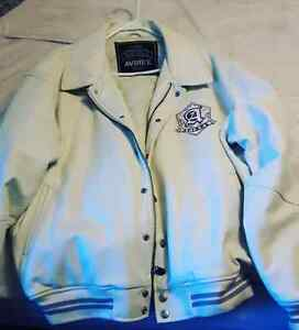 All white Leather Avirex xl jacket