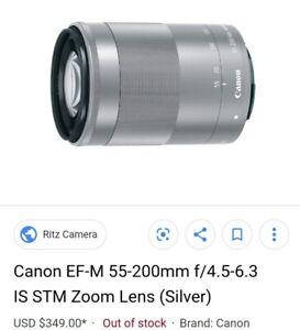 CANON EF M 55-200 SILVER TELEPHOTO LENS