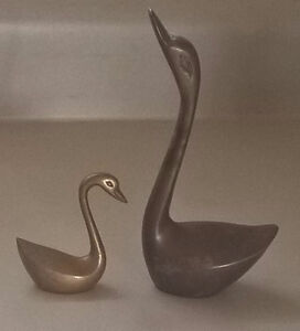 Vintage Decorative Collectible Solid Brass Swan Figurines