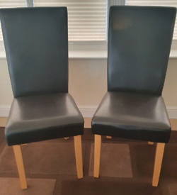 2 x Faux Leather Dark Brown Dining Chairs
