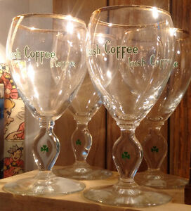 Set of 4 Gold Rim Irish Coffee Glasses