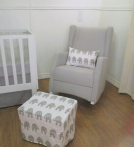 Brooklyn Rocker + Ottoman set Grey Twill and Elephants Cute!