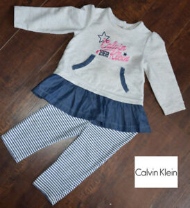EXCELLENT CONDITION: Girls 2-Pc Calvin Klein Outfit 12M $7 firm