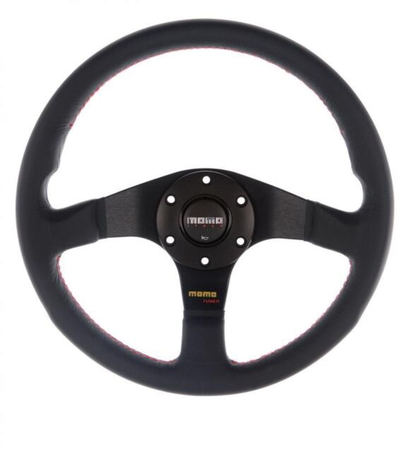 GENUINE Momo Tuner 320mm Steering Wheel Black Leather with Red stitch