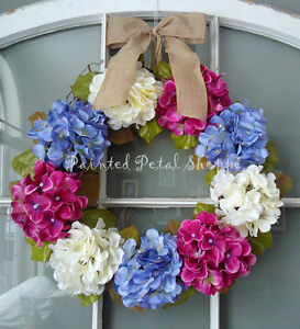 Periwinkle/Ivory/Fuchsia Hydrangea Wreath/Spring/Wedding Wreath