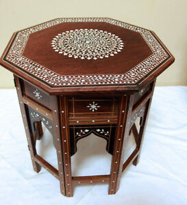 2 Rare Asian Teak , Bone inlaid Travel Side Tables SEE VIDEO