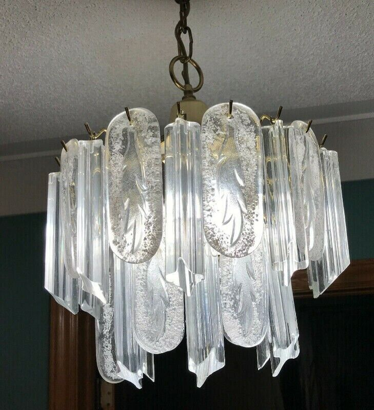 3 pieces of Murano Flush mount  VENINI RUGIADOSO CRYSTAL CHANDELIERS