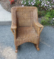 """CHILD'S Brown WICKER Rocking Chair - 21"""" tall City of Montréal Greater Montréal Preview"""