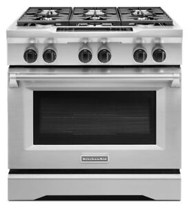 Kitchen Aid KDRS467VSS Pro-Style Duel-Fuel Range Even-Heat