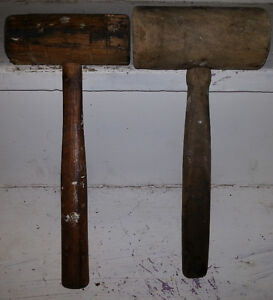 2 ANTIQUE WOOD WOODEN MALLET Lot OLD MASTERCRAFT