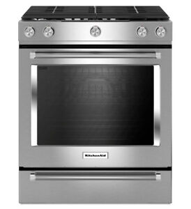 Stainless Steel KitchenAid® 30-Inch 5-Burner Gas Convection Oven