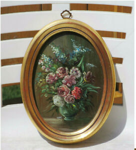Vintage Framed Oil Painting Under Glass - Flower Bouquet - Italy