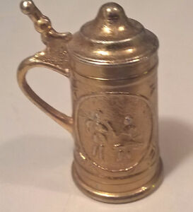 Miniature Brass Beer Stein - Toy Stein - Dollhouse Accessories