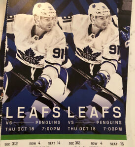 LEAFS vs PENGUINS Oct 18, 4th Row greens. FACE VALUE!! $196