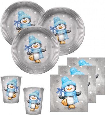 48 Teile Pinguin Junge Deko Set in Hellblau und Silber 16 Personen Baby Party, G