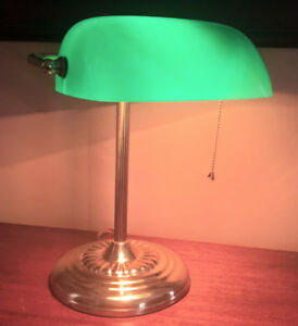 Green Glass Shade Banker's Traditional Style Desk Lamp - Brass