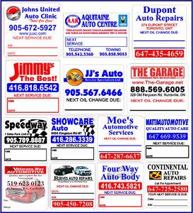 Oil Change reminder stickers.