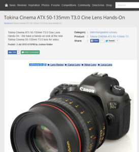 Trading a Tokina Cinema 50-135mm T3.0 - Canon EF - Brand New