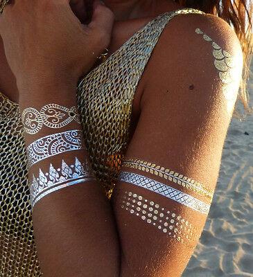 Temporary Klebe Gold Silber Henna Armband Kette Metallic Neu (Band Tattoos)