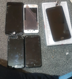 2 iphone 7 black FOR PARTS 2 boroke screen and new working iphone6s+ s