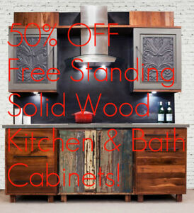 Reclaimed Wood Free Standing Kitchen + Bath Cabinet + Island