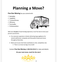Five star moving call 204-914-2512