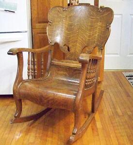 Tiger Oak Vintage Rocking Chair