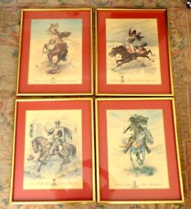 Four Large Cavalry Prints.  Matted, Framed, Ready to Hang.