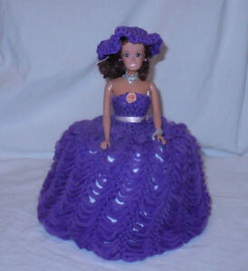 doll toilet paper cover bathroom hand crochet purple dress