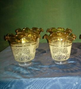 Set 4 Antique Etched Glass Gasolier  Shades