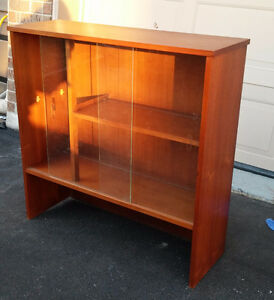 mid century bookcase or hutch/buffet walnut or teak
