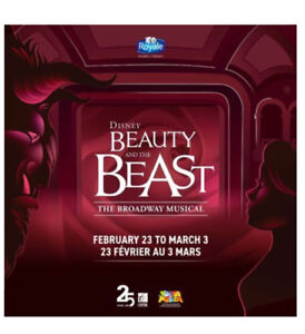 $100 for two (obo) - Beauty and the Beast Tickets! - Moncton NB
