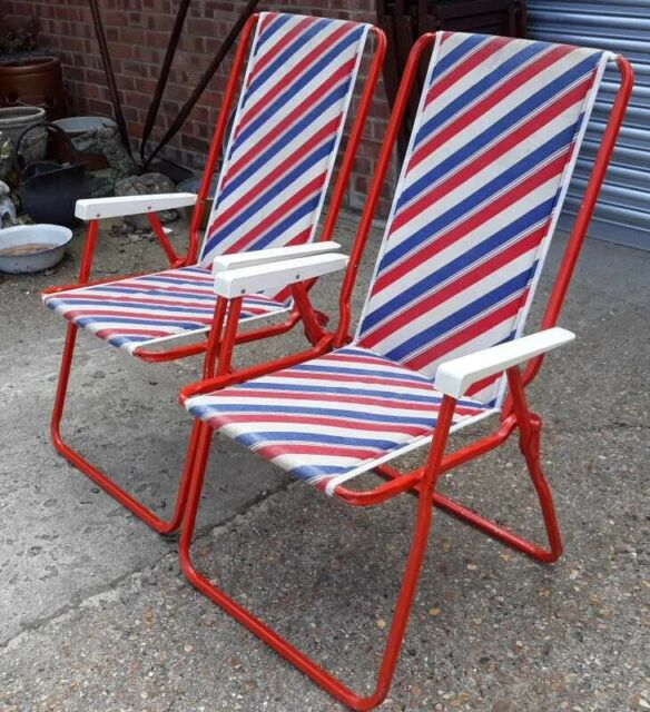 Awesome Pair Of Metal Framed Folding Garden Or Patio Chairs With Red White Blue Fabric In Southampton Hampshire Gumtree Short Links Chair Design For Home Short Linksinfo