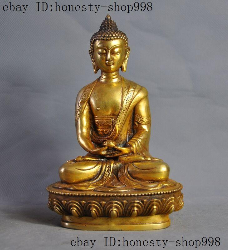 Old Tibet Buddhism Joss bronze Gilt sakyamuni Shakyamuni Amitabha buddha statue