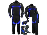 (BLUE) MOTO WIZARD DESIGN SUIT - JACKET + TROUSER + GLOVES + BOOTS (LONG)