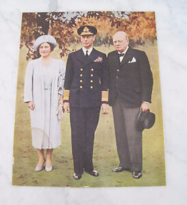 1940 Picture on Board - Churchill King George VI Queen Elizabeth