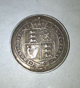 1887 British sterling silver shilling London Ontario image 1