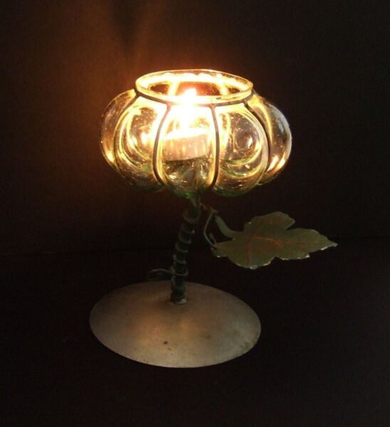 ~~~ AnTique RoSe CanDLe Stand /HoLder (Brass/Glass) $48~~~