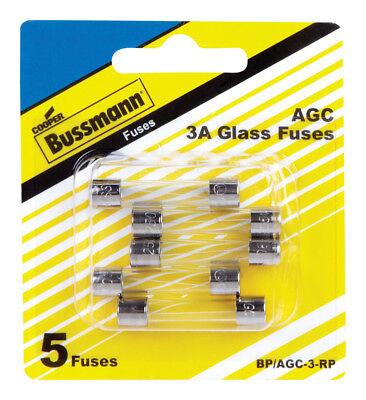5 Pk Bussman Buss Fuses Bpagc-3-rp 3 Amp Agc Glass Fuse Mini Automotive New
