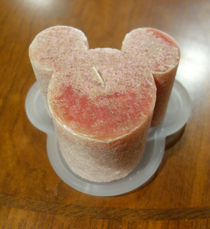 """Disney Frosted Glass Mickey Mouse Head 6"""" Trivet & Red Frosted Scented Candle."""