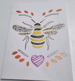 Hand drawn card bee theme. 🐝