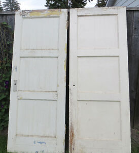 ANTIQUE VINTAGE SOLID WOOD 3 PANEL FIR DOORS - MATCHED  PAIR