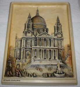 Vintage 3D Ivorex Plaque, St Paul's Cathedral
