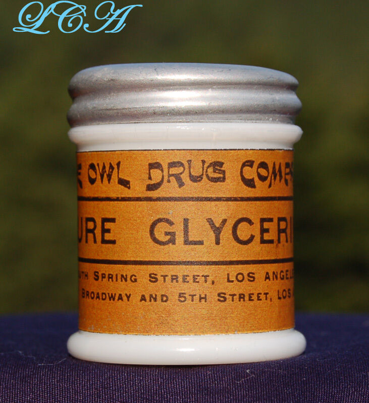 Old OWL DRUG Co milk glass jar PURE GLYCERINE w/ REPO label LOS  ANGELES CAL