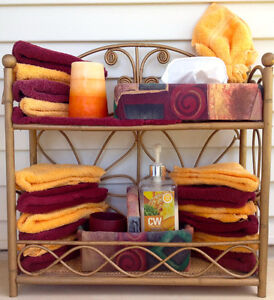 Bathroom wicker caddy with 18 washcloths and other accessories