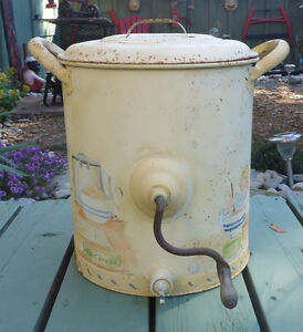 ANTIQUE/VINTAGE METAL CHURN WITH WOODEN PADDLES & TAP