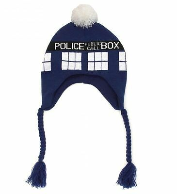Doctor Dr Who TARDIS Design Warm Blue Knitted Braided Beanie Bobble Hat new with