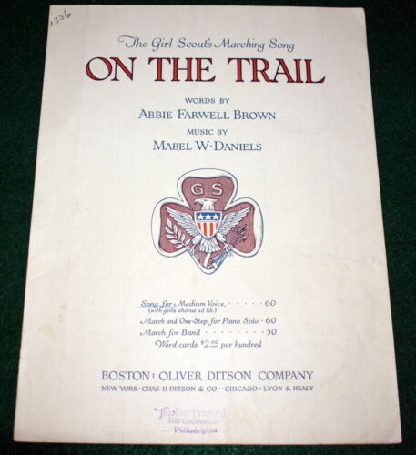 VINTAGE GIRL SCOUT 1918 SHEET MUSIC - ON THE TRAIL